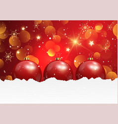 christmas background with baubles in snow vector image