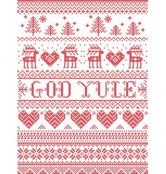 Christmas pattern merry christmas god yule vector