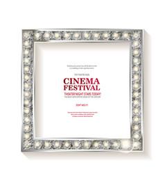 cinema festival blank marque silver frame vector image