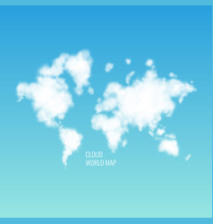 Clouds in the shape of a world map in the blue sky vector
