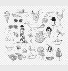 collection summer cartoon doodles vector image