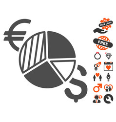 currency pie chart icon with valentine bonus vector image