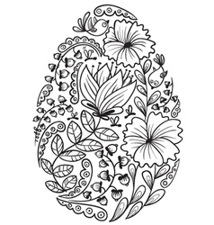 cute doodle floral easter egg vector image vector image