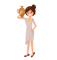 Cute girl in dress with pottery vase on shoulder vector