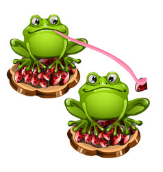 Cute green frog with a long pink tongue stole a vector