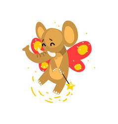 Cute winged elephant with a magic wand fantasy vector
