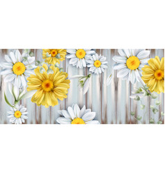 daisy and tulips flowers bouquet watercolor vector image