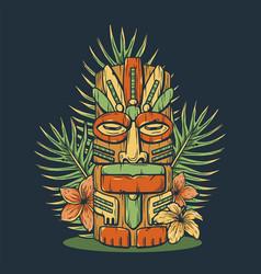 Design hawaii tiki mask or idol ethnic totem vector