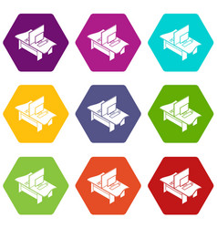double office table icons set 9 vector image