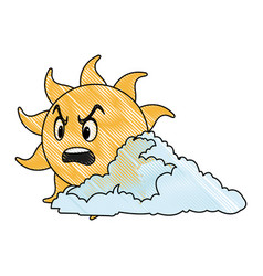 Drawing cute smiling cartoon sun and cloud vector