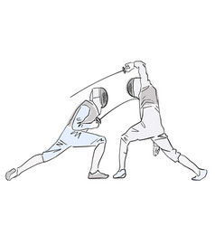 Fencing championship two fencing athletes vector