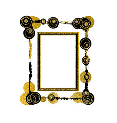 Golden modern frame design element vector