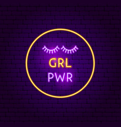 grl pwr neon sign vector image