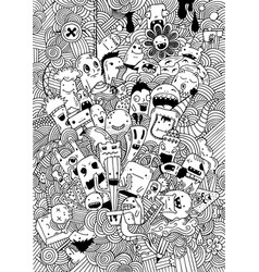 Hand drawing doodle monsters on white vector
