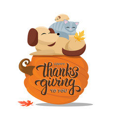 hand drawn happy thanksgiving to you typography vector image