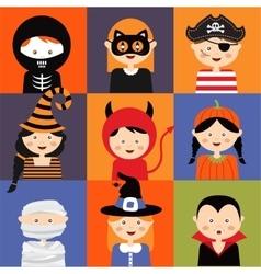 happy halloween of cute cartoon children vector image