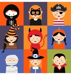 Happy Halloween Set of cute cartoon children in vector image