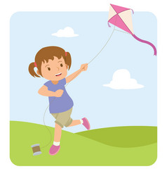 Happy little girl playing kite in the field vector