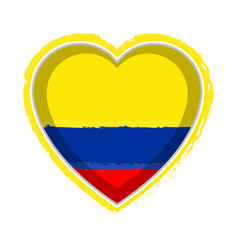 Heart shaped flag of colombia vector