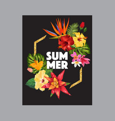 hello summer tropic design with golden frame vector image