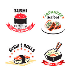Icons set for sushi or seafood restaurant vector