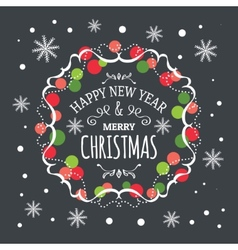 Inscription Happy New Year and Merry Christmas vector image