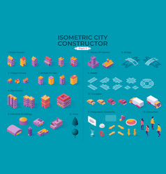 isometric city constructor vector image