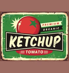 Ketchup retro sign vector