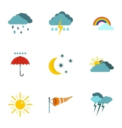 Kinds of weather icons set flat style vector image