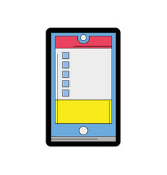 line color smartphone object technology with data vector image vector image