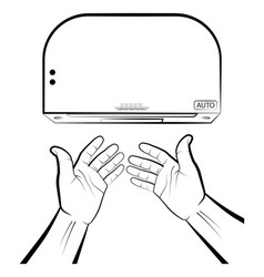 Man holds hands under a automatic dryer hygienic vector