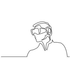man wearing virtual reality goggles vector image