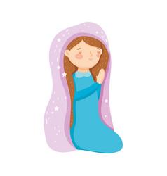 Mary praying manger nativity merry christmas vector