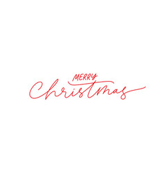 merry christmas brush pen red lettering vector image