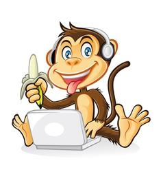 Monkey Laptop vector image