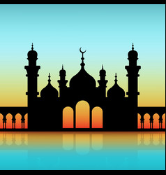 mosque black silhouette on dawn sky vector image