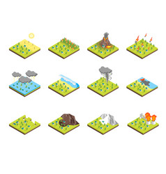 nature disaster concept set 3d isometric view vector image