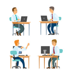 Office business workers at desktops with laptops vector