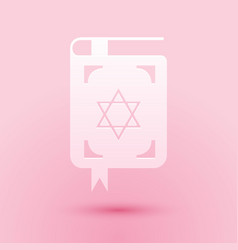 paper cut jewish torah book icon isolated on pink vector image