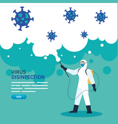 Person with protective suit or spraying viruses vector