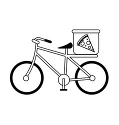 Pizza bycicle silhouette vector