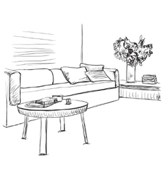 Room interior sketch Sofa and furniture vector image