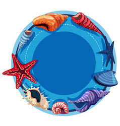 Round border template with starfish and shells vector
