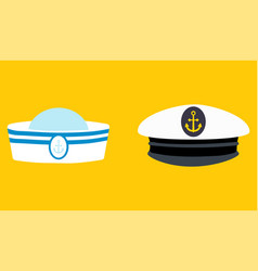 sailor hat set marine captain clothing vector image