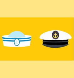 sailor hat set marine captain clothing vector image