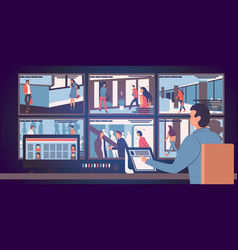 Security room in which working professionals vector