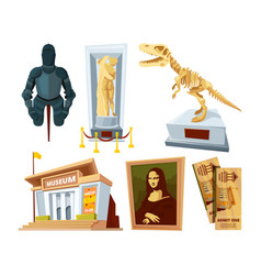 set cartoon pictures of museum with exhibit pod vector image