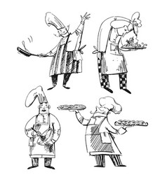 set chefs line drawings baker chef vector image