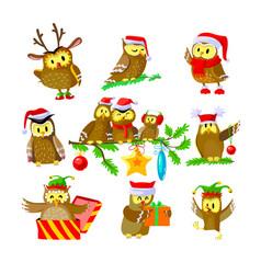 Set christmas owls funny birds in santa claus vector