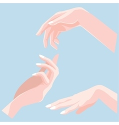 Set of beautiful woman hands isolated on blue vector image